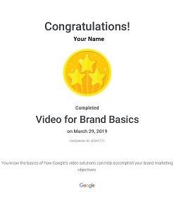 Video for Brand Basics certificate